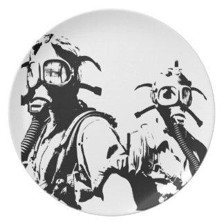 Gas Masks in Black Plates