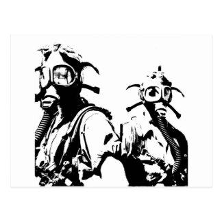 Gas Masks in Black Postcard