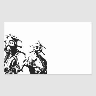 Gas Masks in Black Rectangular Sticker