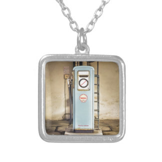 gas-pump silver plated necklace