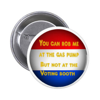 Gas robbery pinback button