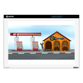 Gas station and garage decal for laptop