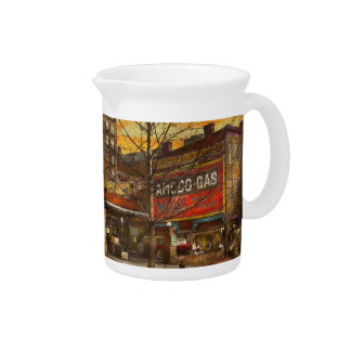 Gas Station - At the end of a day 1925 Drink Pitcher