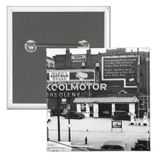Gas Station Cleveland Ohio Vintage Photo Pinback Button