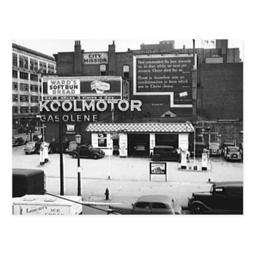 Gas station cleveland ohio vintage photo postcard zazzle for Cleveland gas station mural