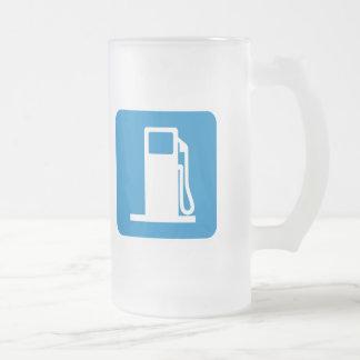 Gas Station Highway Sign Frosted Glass Beer Mug