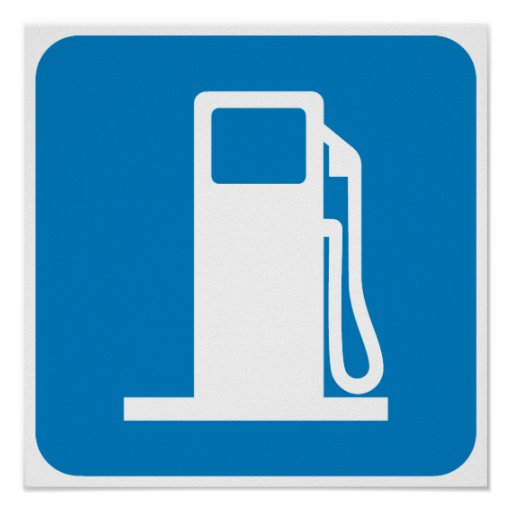 Gas Station Highway Sign Poster