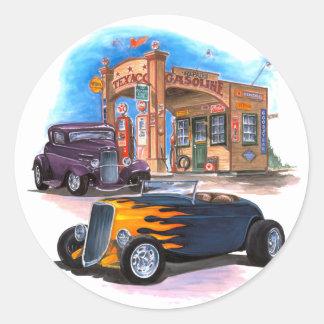 Gas Station Hot Rod Classic Round Sticker