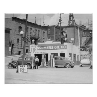 Gas Station in Montana, 1939. Vintage Photo Poster