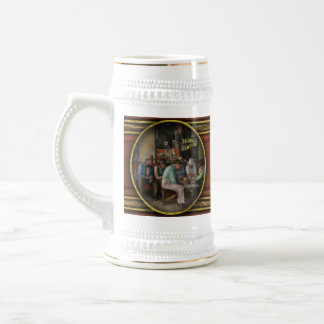 Gas Station - Playing checkers together 1939 Beer Stein