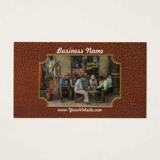 Gas Station - Playing checkers together 1939 Business Card