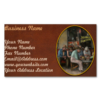 Gas Station - Playing checkers together 1939 Business Card Magnet
