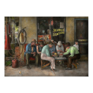 Gas Station - Playing checkers together 1939 Card