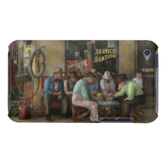Gas Station - Playing checkers together 1939 iPod Case-Mate Case