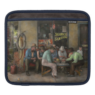 Gas Station - Playing checkers together 1939 Sleeve For iPads