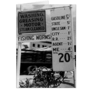 Gas station price analysis photo 1938 card