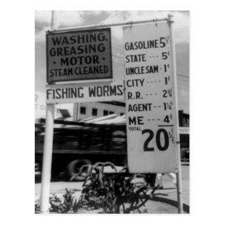 Gas station price analysis photo 1938 postcard