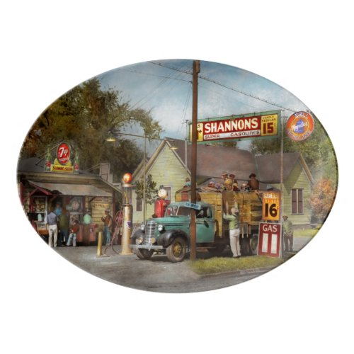 Gas Station - Shannon's super gasolines 1939 Porcelain Serving Platter