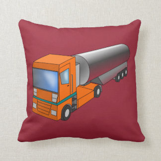 Gas Tanker Truck Heavy Transporter for Kids Throw Pillow