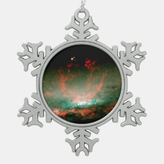 Gaseous Bubble in Core of Galaxy NGC 3079 Snowflake Pewter Christmas Ornament