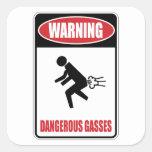 Gases peligrosos divertidos pegatina cuadrada