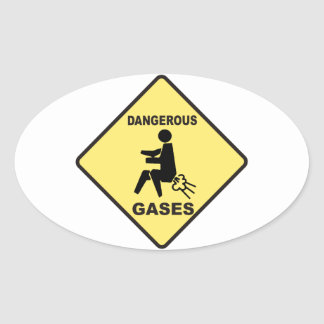 Gases peligrosos pegatina ovalada