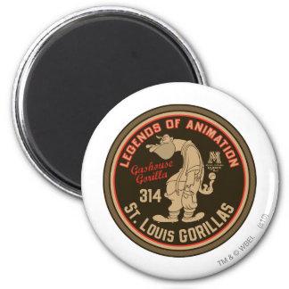 Gashouse Gorillas Logo Feat. Pitcher 2 Inch Round Magnet