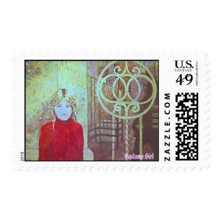 Gaslamp Girl Postage Stamp