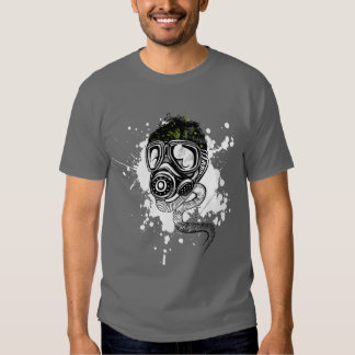 Gasmask & Nature on Gray T Shirt