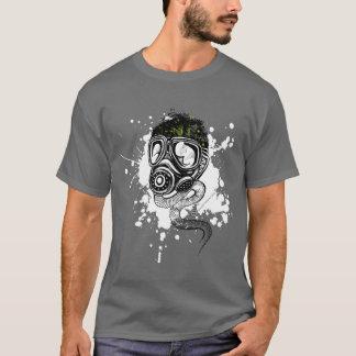 Gasmask & Nature on Gray T-Shirt