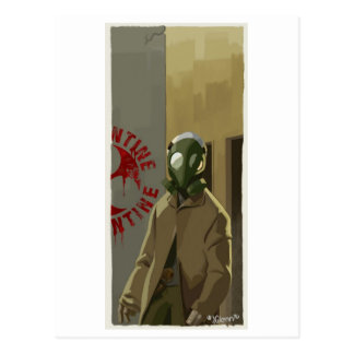 gasmask postcard