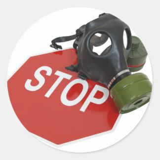 GasMaskStopSign052409 Round Sticker