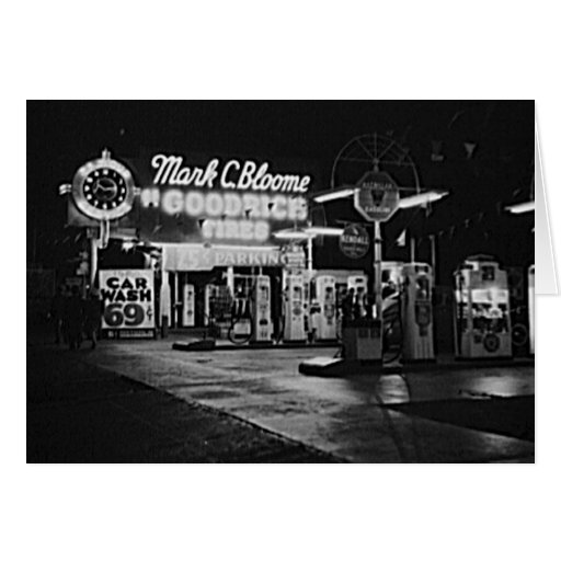 Gasoline Station Hollywood California Vintage 1942 Greeting Card