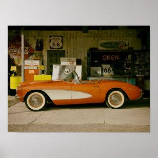 Gasolinera clásica del RT 66 Póster
