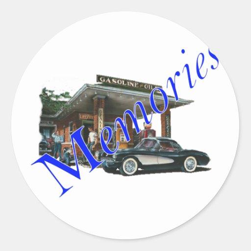 Gasolinera de los años 50 del vintage pegatina redonda