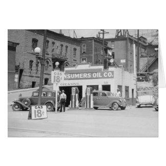 Gasolinera en Montana, 1939 Tarjeta De Felicitación