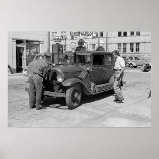 Gasolinera roja de la corona, los años 40 impresiones