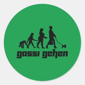 Gassi gehen classic round sticker
