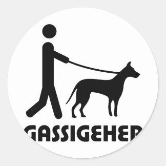 Gassigeher dog walker hund classic round sticker