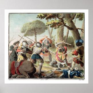 Gastón de Foix (1488-1512) matado en la batalla de Póster