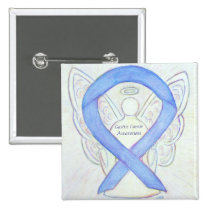 Gastric Cancer Angel Awareness Ribbon Custom Pin