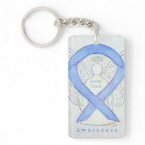 Gastric Cancer Angel Awareness Ribbon Keychain