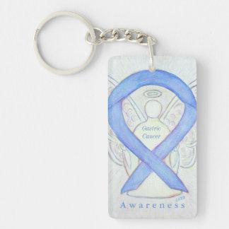 Gastric Cancer Angel Awareness Ribbon Keychain