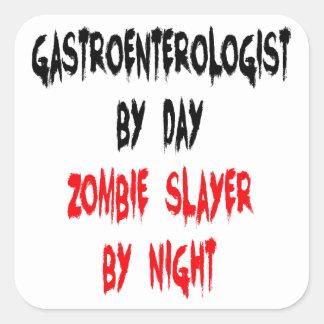 Gastroenterólogo del asesino del zombi pegatina cuadradas