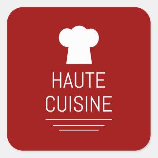Gastrónomo Foodie de la cocina de Haute del Pegatina Cuadrada