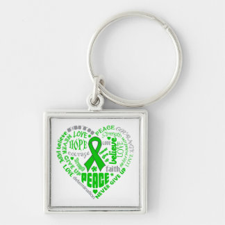 Gastroparesis Awareness Heart Words Silver-Colored Square Keychain