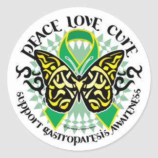 Gastroparesis Butterfly Tribal 2 Classic Round Sticker