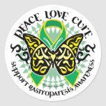 Gastroparesis Butterfly Tribal 2 Round Stickers