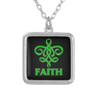 Gastroparesis Faith Fleur de Lis Ribbon Square Pendant Necklace