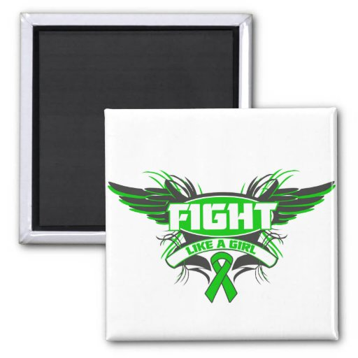 Gastroparesis Fight Like a Girl Wings.png 2 Inch Square Magnet